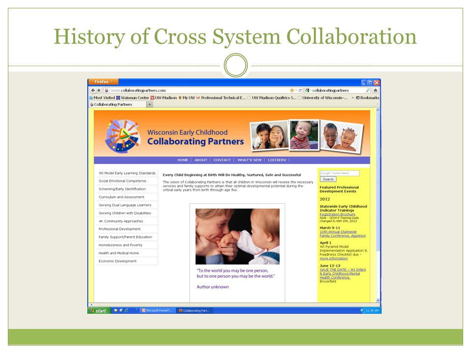 History of Cross System Collaboration