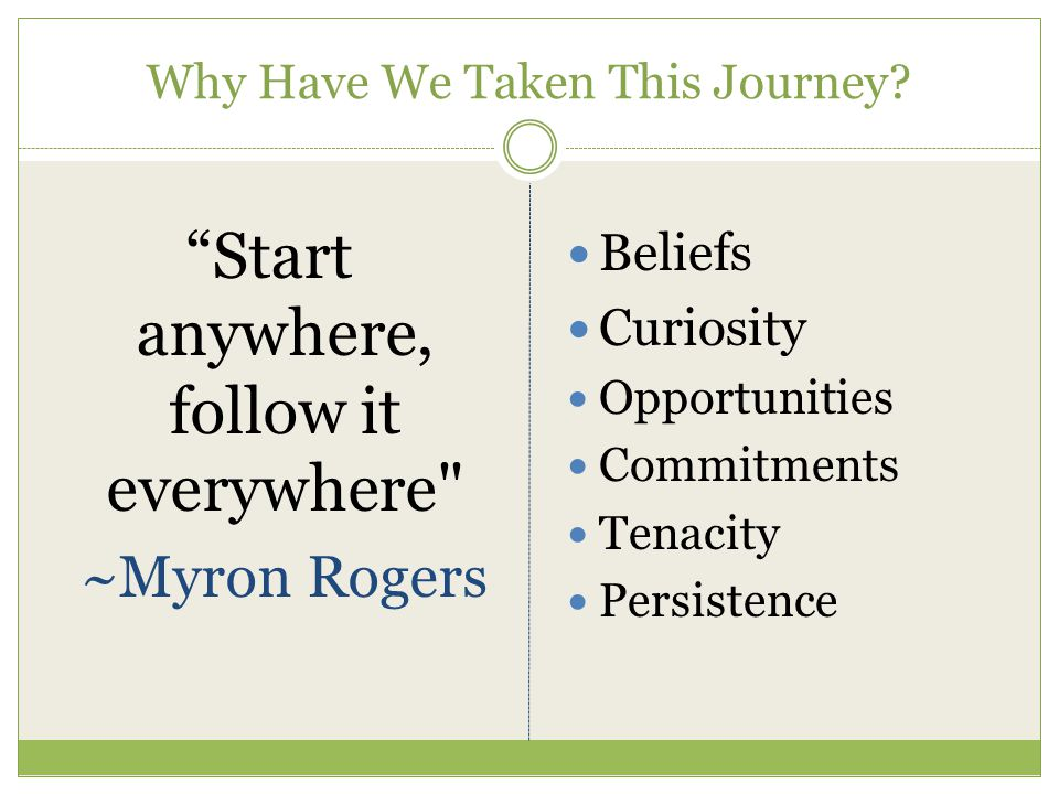 "Why Have We Taken This Journey? ""Start anywhere, follow it everywhere"