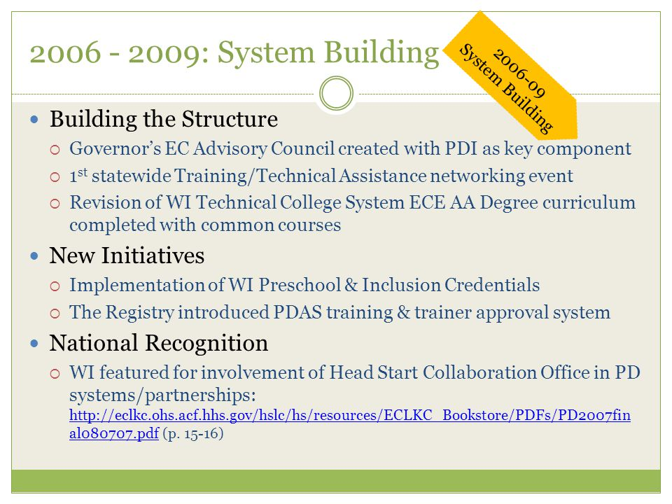 2006 - 2009: System Building Building the Structure  Governor's EC Advisory Council created with PDI as key component  1 st statewide Training/Technical Assistance networking event  Revision of WI Technical College System ECE AA Degree curriculum completed with common courses New Initiatives  Implementation of WI Preschool & Inclusion Credentials  The Registry introduced PDAS training & trainer approval system National Recognition  WI featured for involvement of Head Start Collaboration Office in PD systems/partnerships: http://eclkc.ohs.acf.hhs.gov/hslc/hs/resources/ECLKC_Bookstore/PDFs/PD2007fin al080707.pdf (p.
