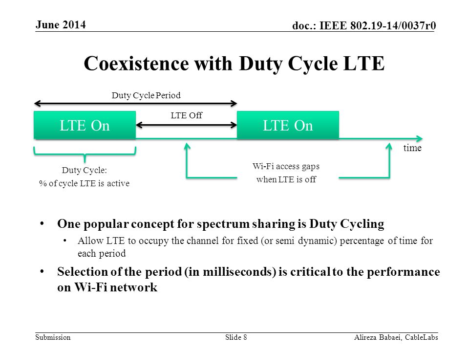 Submission doc.: IEEE 802.19-14/0037r0 Duty Cycle Approach- Wi-Fi Throughput Wi-Fi throughput is consistent across LTE higher cycle periods Wi-Fi gets <1Mbps for 10ms / 70% case Same as TD-LTE w/ 3 ms quiet period configuration Slide 9Alireza Babaei, CableLabs June 2014