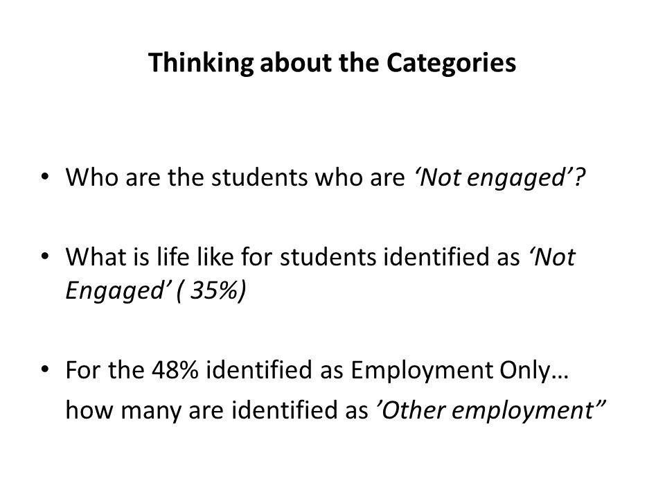 Thinking about the Categories Who are the students who are 'Not engaged'.