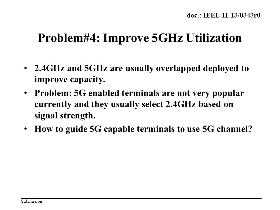 Submission doc.: IEEE 11-13/0343r0 Proposal for Problem#4 Solution: Define load balance mechanism to improve 5G utilization.