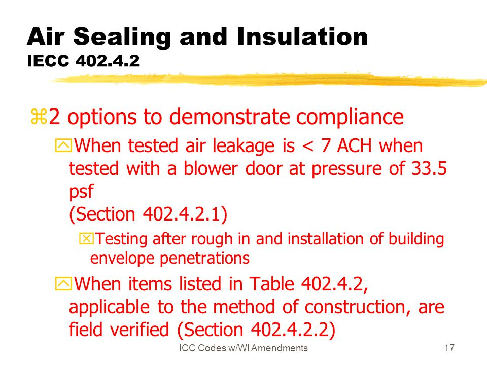 ICC Codes w/WI Amendments17 Air Sealing and Insulation IECC 402.4.2 z2 options to demonstrate compliance yWhen tested air leakage is < 7 ACH when tested with a blower door at pressure of 33.5 psf (Section 402.4.2.1) xTesting after rough in and installation of building envelope penetrations yWhen items listed in Table 402.4.2, applicable to the method of construction, are field verified (Section 402.4.2.2)