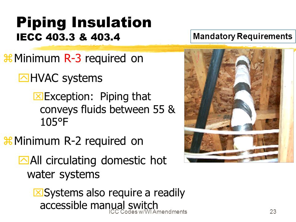 ICC Codes w/WI Amendments23 Piping Insulation IECC 403.3 & 403.4 zMinimum R-3 required on yHVAC systems xException: Piping that conveys fluids between