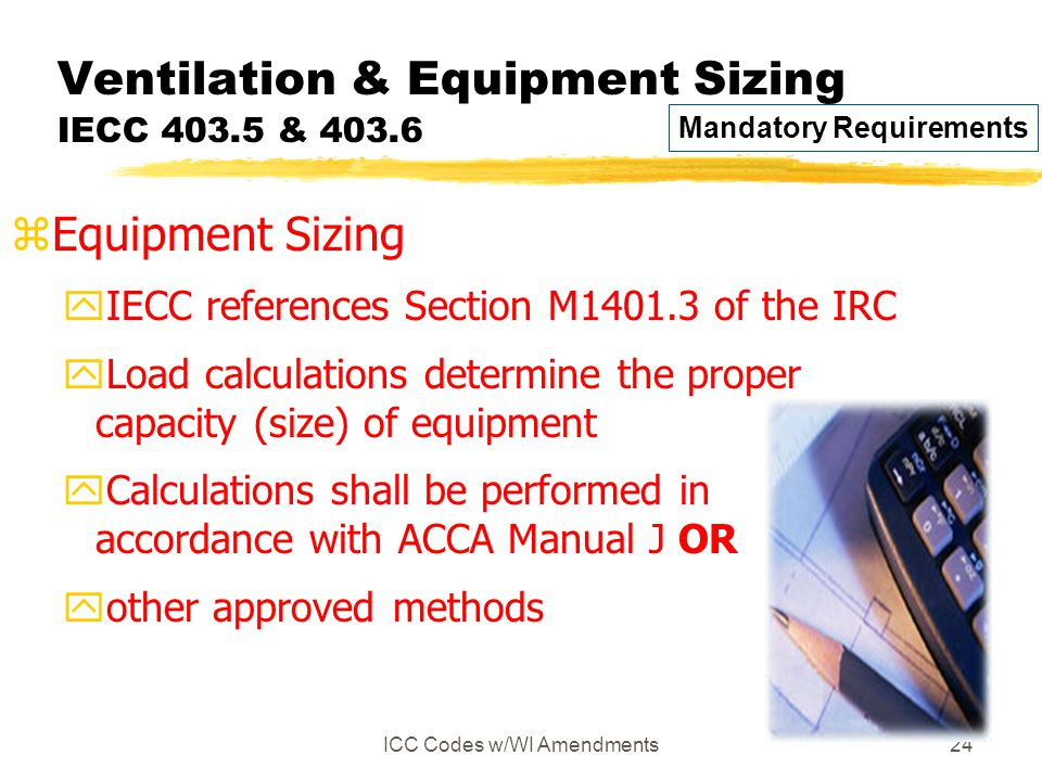 ICC Codes w/WI Amendments24 Ventilation & Equipment Sizing IECC 403.5 & 403.6 zEquipment Sizing yIECC references Section M1401.3 of the IRC yLoad calculations determine the proper capacity (size) of equipment yCalculations shall be performed in accordance with ACCA Manual J OR yother approved methods Mandatory Requirements
