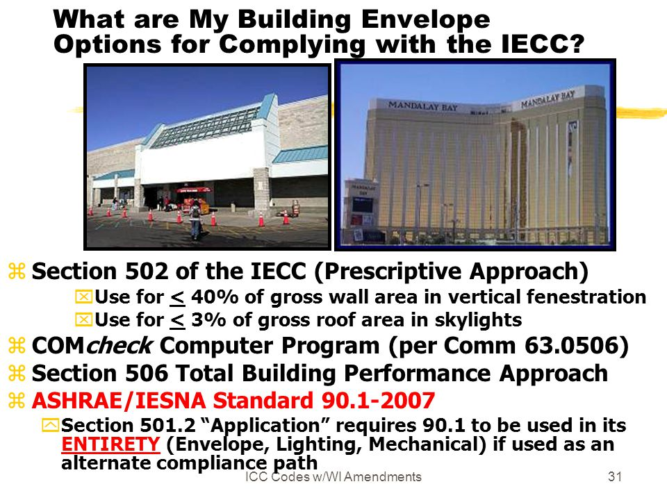 ICC Codes w/WI Amendments31 What are My Building Envelope Options for Complying with the IECC.