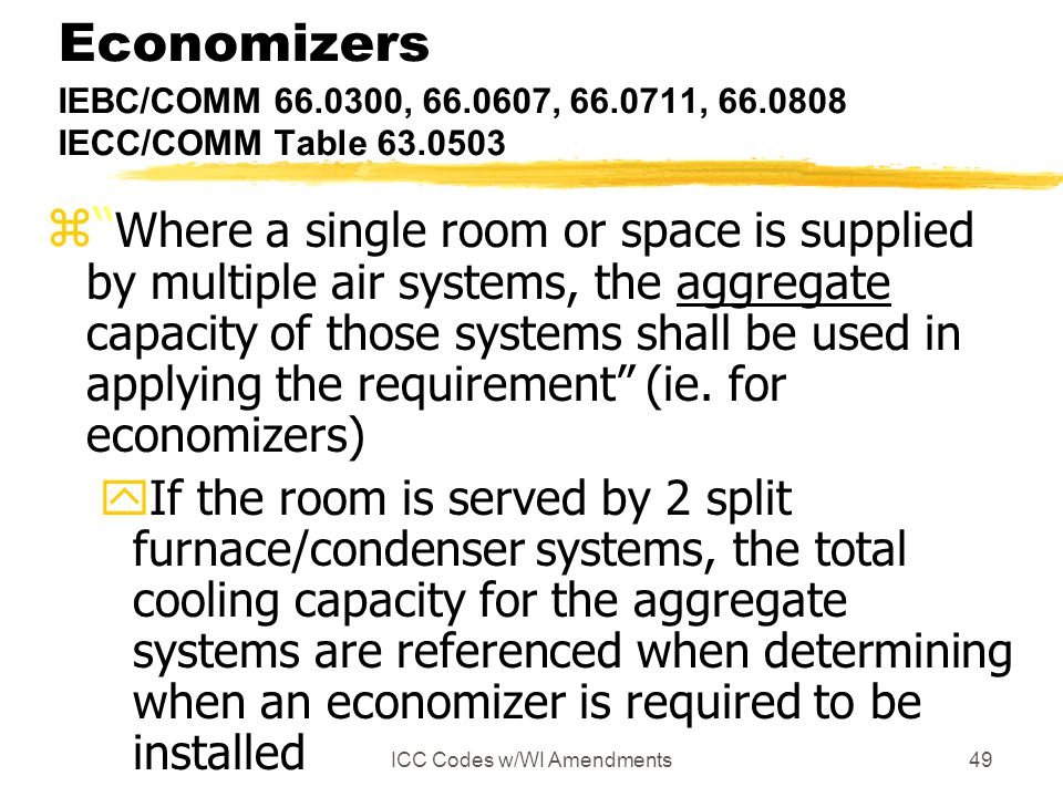 "ICC Codes w/WI Amendments49 Economizers IEBC/COMM 66.0300, 66.0607, 66.0711, 66.0808 IECC/COMM Table 63.0503 z"" Where a single room or space is suppli"