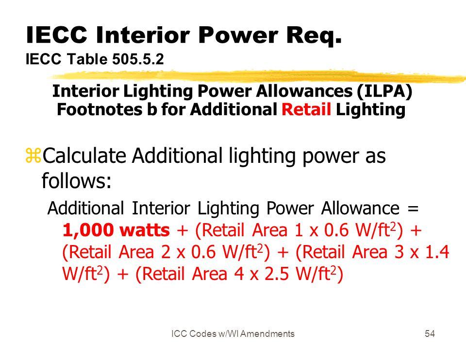ICC Codes w/WI Amendments54 IECC Interior Power Req.
