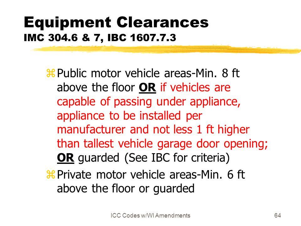 ICC Codes w/WI Amendments64 Equipment Clearances IMC 304.6 & 7, IBC 1607.7.3 zPublic motor vehicle areas-Min.