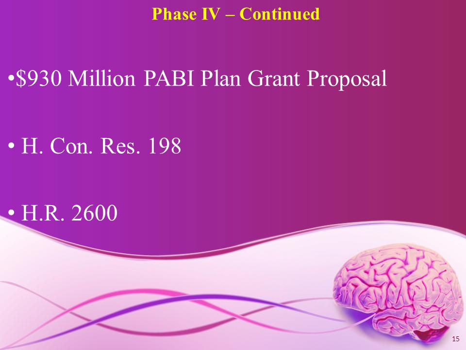 Phase IV – Continued $930 Million PABI Plan Grant Proposal H. Con. Res. 198 H.R. 2600 15