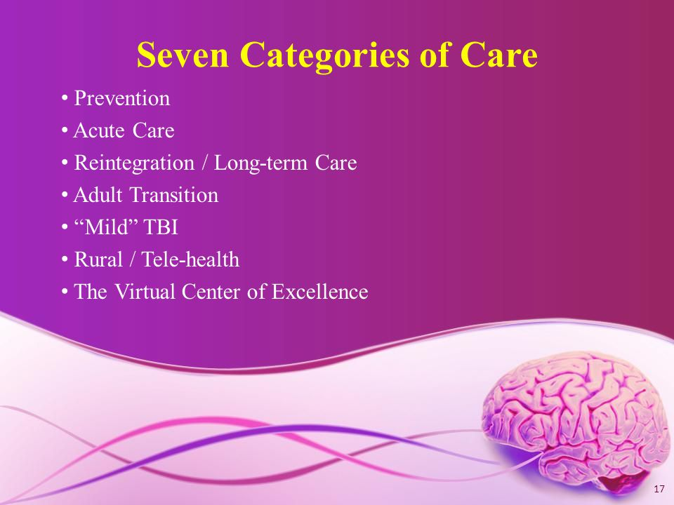 Seven Categories of Care Prevention Acute Care Reintegration / Long-term Care Adult Transition Mild TBI Rural / Tele-health The Virtual Center of Excellence 17