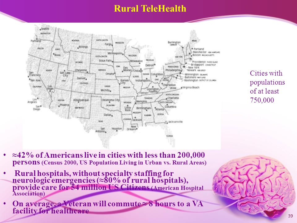 Rural TeleHealth ≈42% of Americans live in cities with less than 200,000 persons (Census 2000, US Population Living in Urban vs.