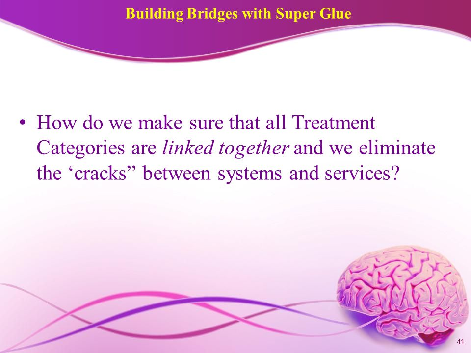 Building Bridges with Super Glue How do we make sure that all Treatment Categories are linked together and we eliminate the 'cracks between systems and services.