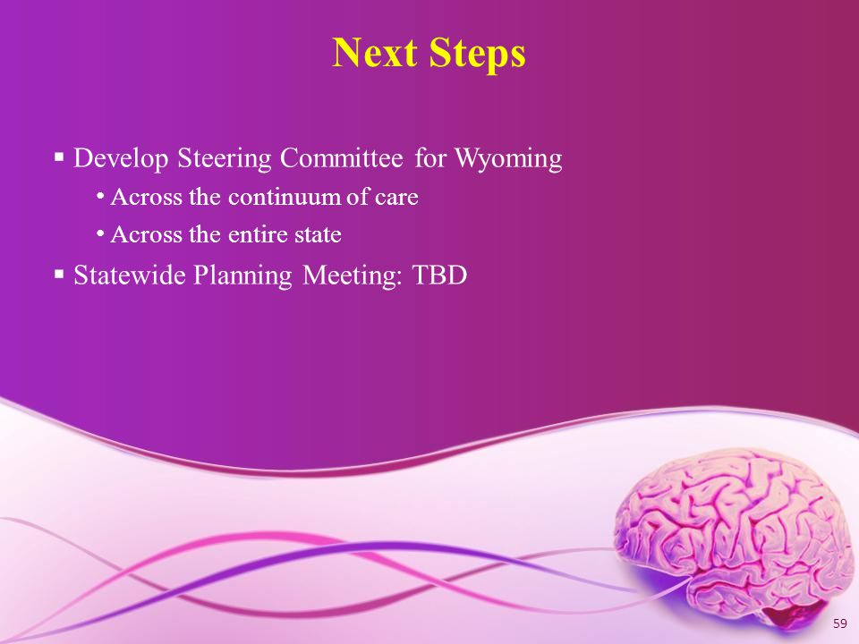 Next Steps  Develop Steering Committee for Wyoming Across the continuum of care Across the entire state  Statewide Planning Meeting: TBD 59