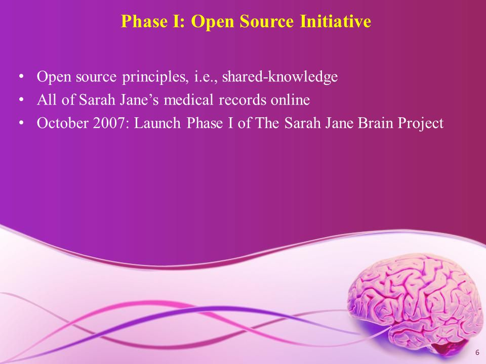 Phase II Recruit other families who have a child with a brain injury to participate in our Open Source Initiative Establish Advisory Board of leading experts 7