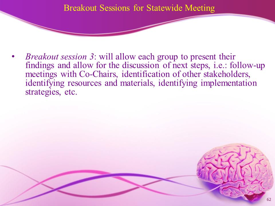 Breakout Sessions for Statewide Meeting Breakout session 3: will allow each group to present their findings and allow for the discussion of next steps, i.e.: follow-up meetings with Co-Chairs, identification of other stakeholders, identifying resources and materials, identifying implementation strategies, etc.