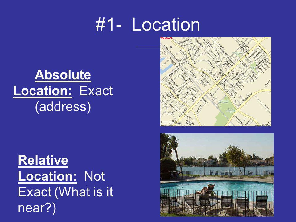 #1- Location Absolute Location: Exact (address) Relative Location: Not Exact (What is it near?)