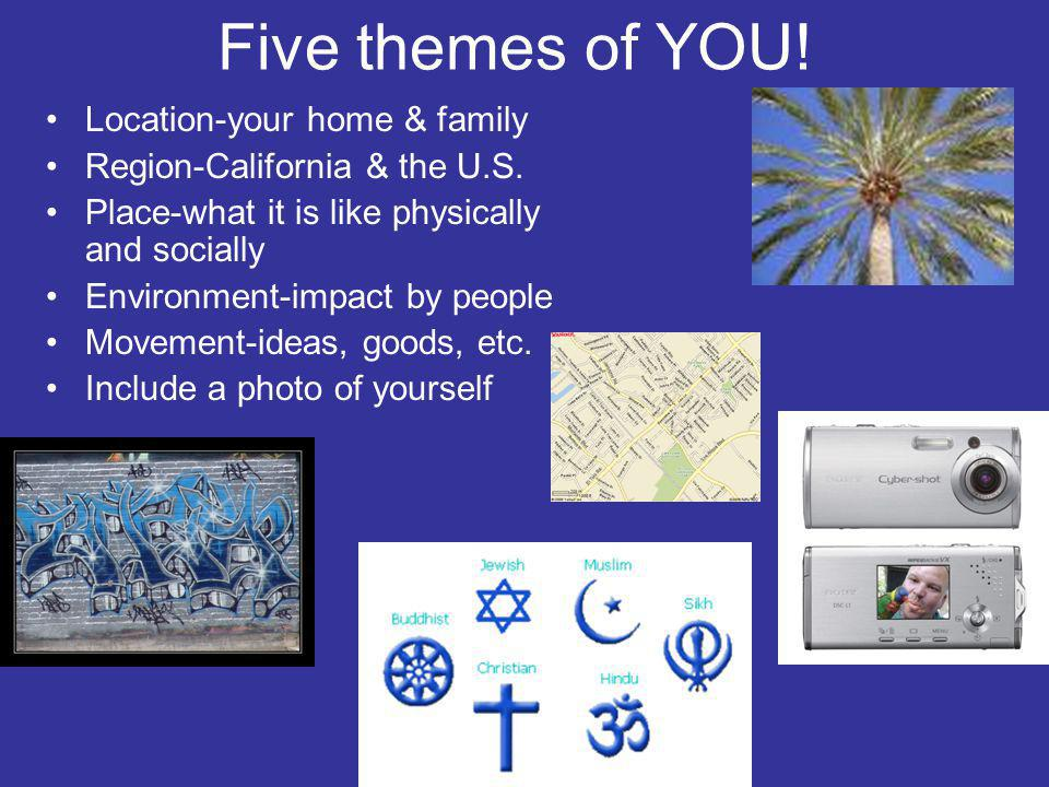 Five themes of YOU! Location-your home & family Region-California & the U.S. Place-what it is like physically and socially Environment-impact by peopl