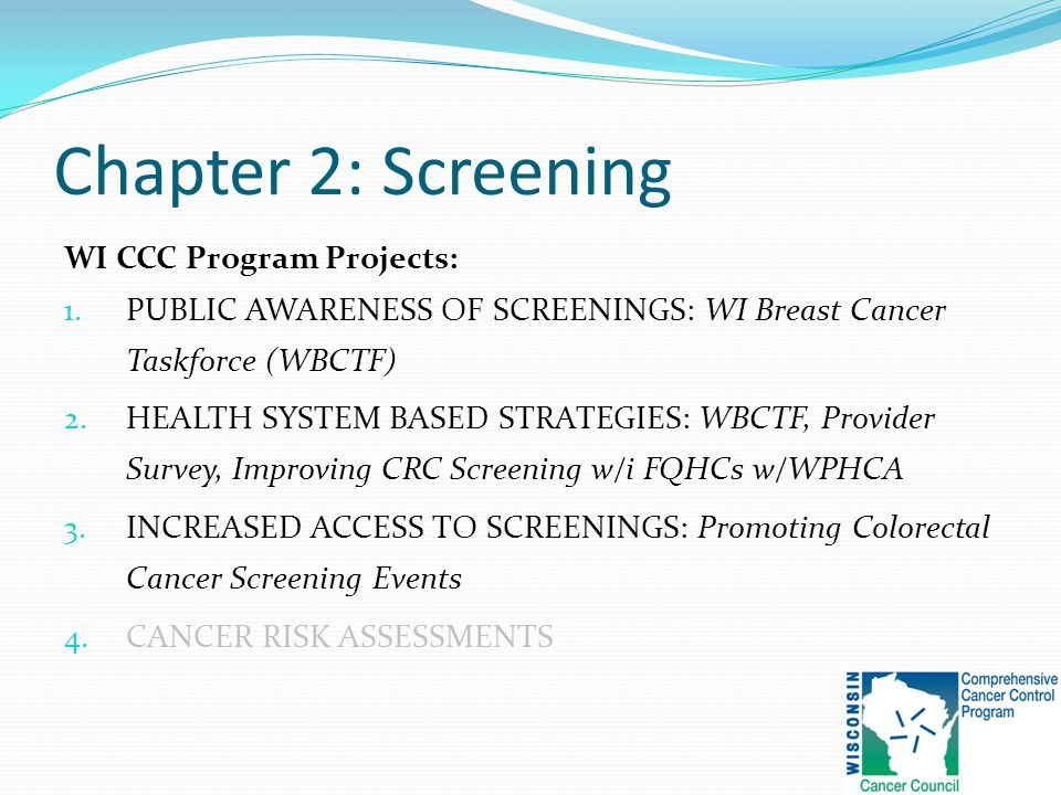 Chapter 2: Screening WI CCC Program Projects: 1.