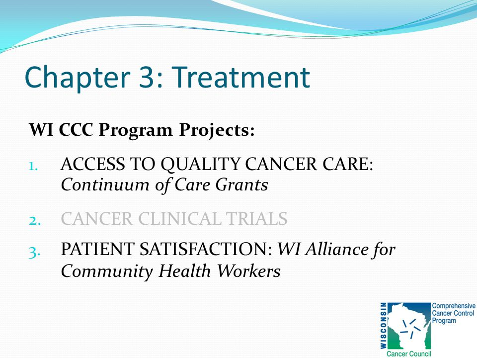 Chapter 3: Treatment WI CCC Program Projects: 1.