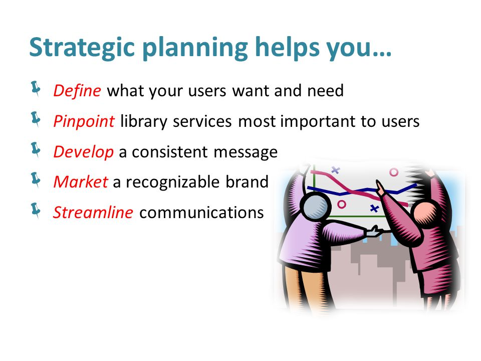 Strategic planning helps you…  Define what your users want and need  Pinpoint library services most important to users  Develop a consistent message  Market a recognizable brand  Streamline communications