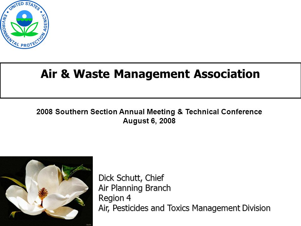 Air & Waste Management Association Dick Schutt, Chief Air Planning Branch Region 4 Air, Pesticides and Toxics Management Division 2008 Southern Section Annual Meeting & Technical Conference August 6, 2008