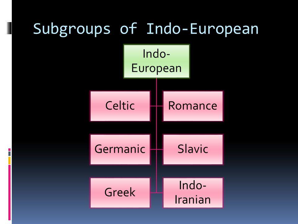 Subgroups of Indo-European Indo- European CelticRomance GermanicSlavic Greek Indo- Iranian