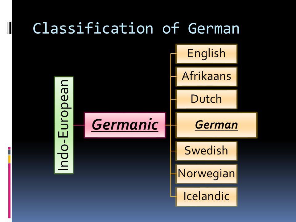 Classification of German Indo-European Germanic English Afrikaans Dutch German Swedish Norwegian Icelandic