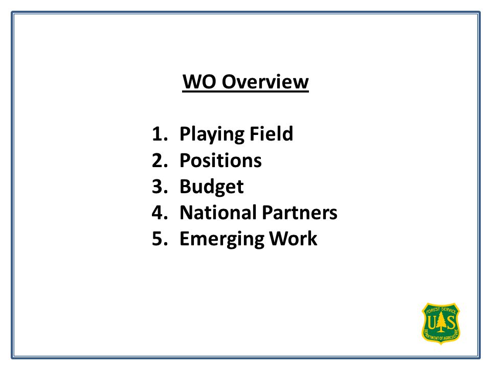 WO Overview 1.Playing Field 2.Positions 3.Budget 4.National Partners 5.Emerging Work