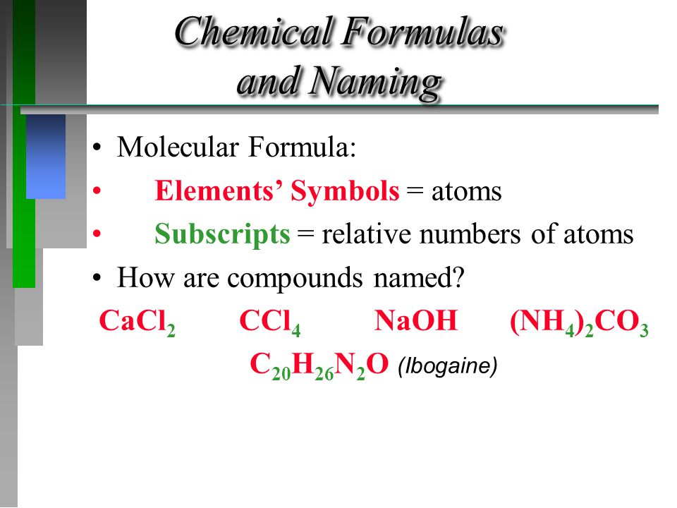 Formulas from Names Solutions: SO 3 MgCl 2 Pb(SO 4 ) 2 P 2 S 5 ( NH 4 ) 3 PO 4 Fe 2 O 3 HBr HClO 3 NaClO 2
