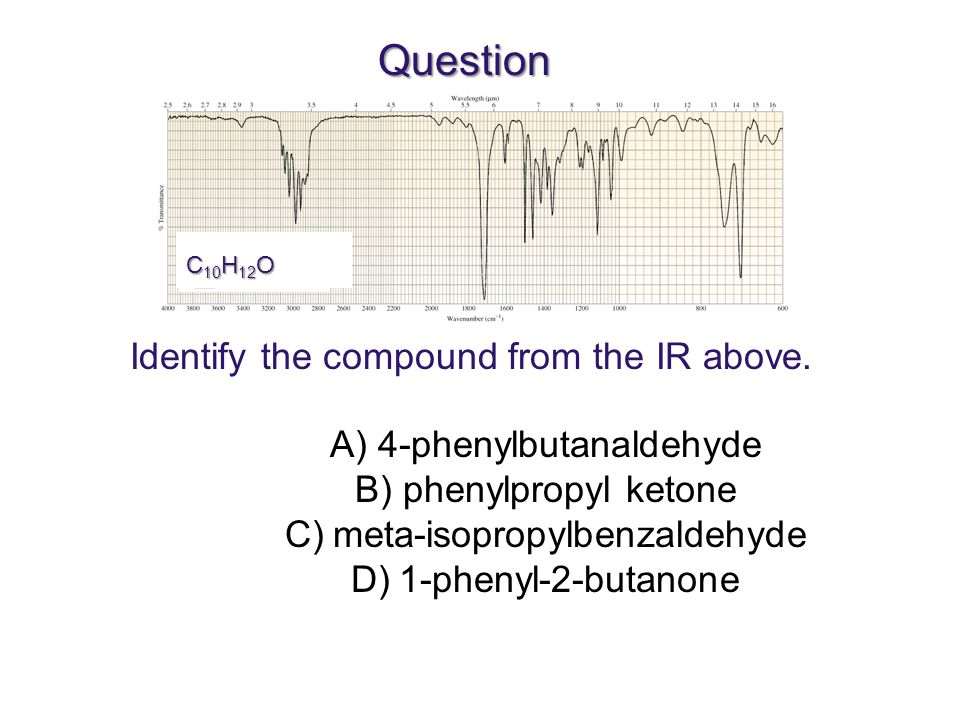 Question C 10 H 12 O Identify the compound from the IR above.