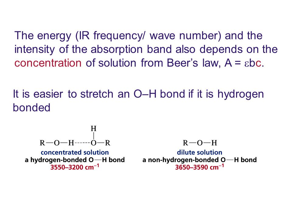 The energy (IR frequency/ wave number) and the intensity of the absorption band also depends on the concentration of solution from Beer's law, A =  bc.