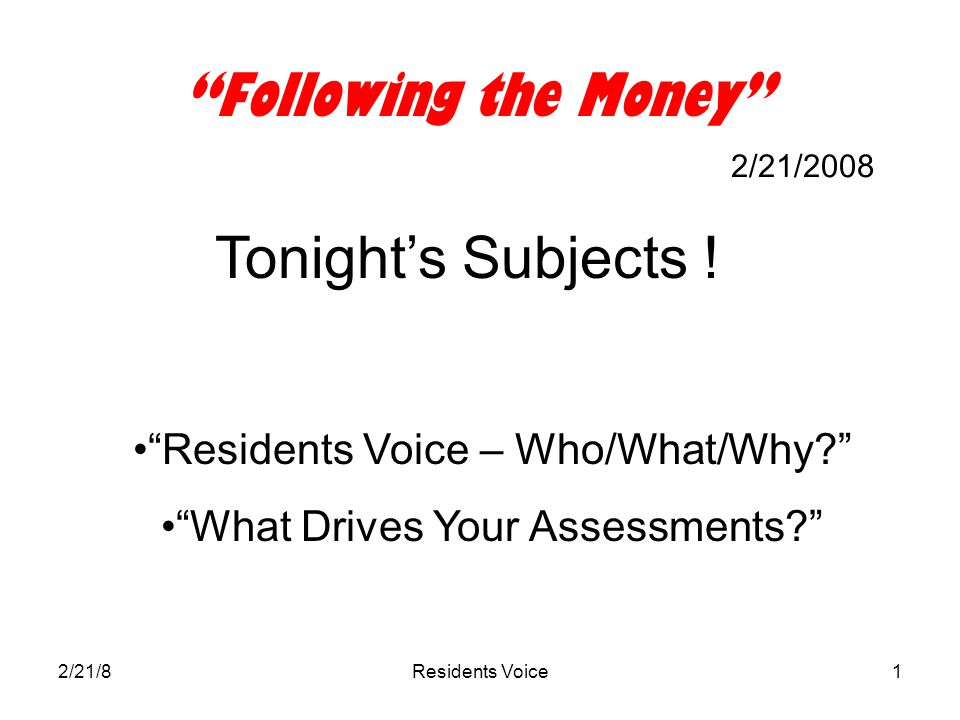 2/21/8Residents Voice12 What's a Service Level.Obvious ones: –How often we cut the grass.