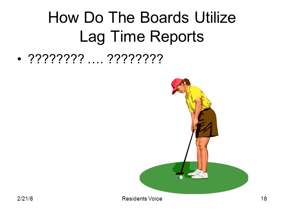 2/21/8Residents Voice18 How Do The Boards Utilize Lag Time Reports ???????? …. ????????