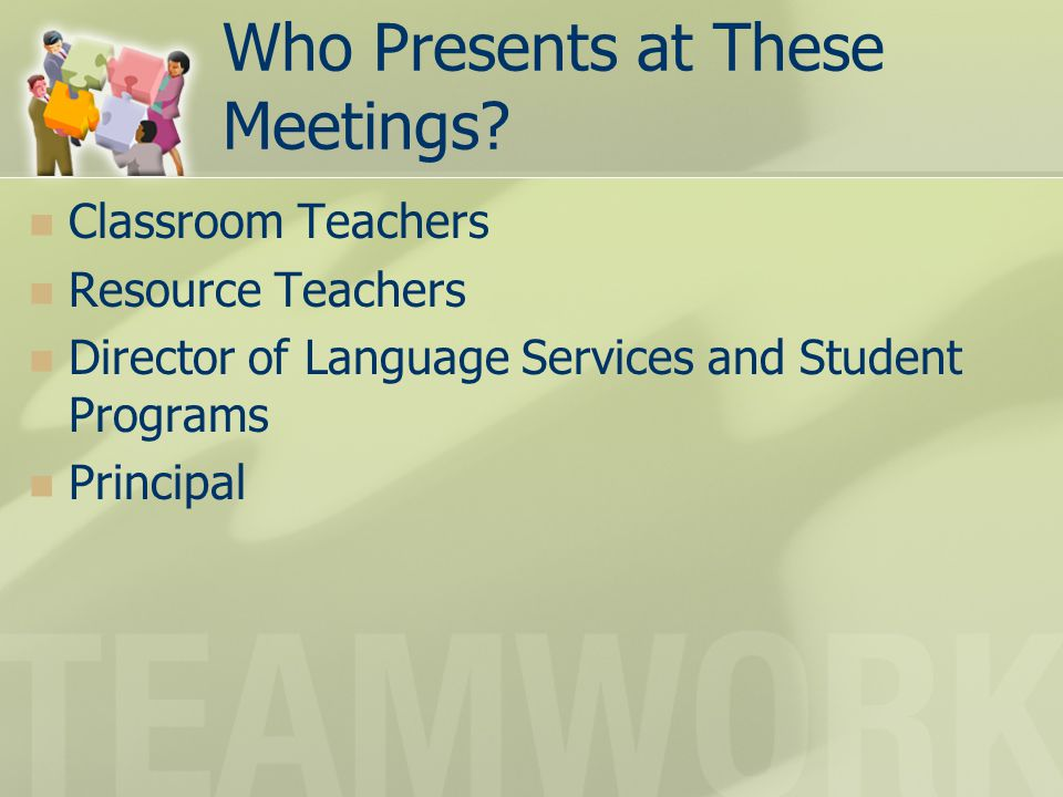 Who Presents at These Meetings.