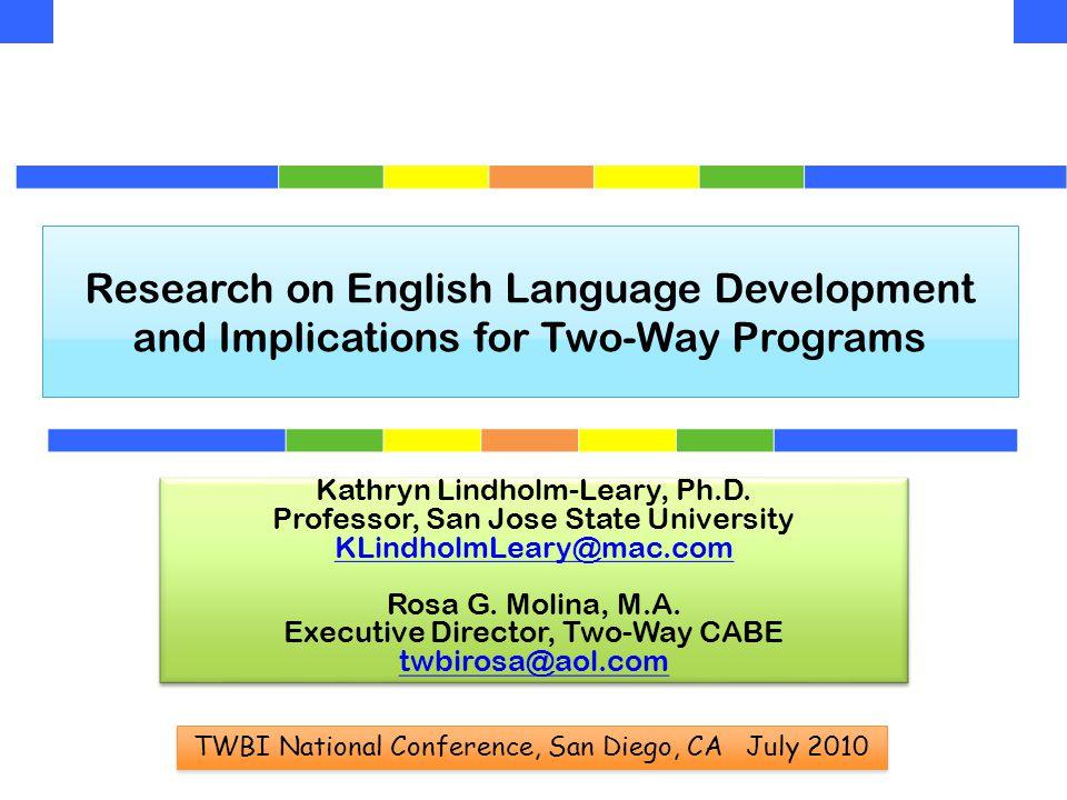 Research in TWI - Correlations Literacy & Language Proficiency Within & Across Languages  Correlations between:ELLEP  CST ELA x Aprenda reading =.54***.71***  CST ELA x CELDT overall =.40***  CST ELA x CELDT reading =.51***  Aprenda reading x Span oral prof =.37***.57***  Correlations between:ALL  English reading x Mandarin reading =.58***  English language proficiency related to English reading; Spanish language proficiency related to Spanish reading  Reading scores in English related to reading scores in Spanish