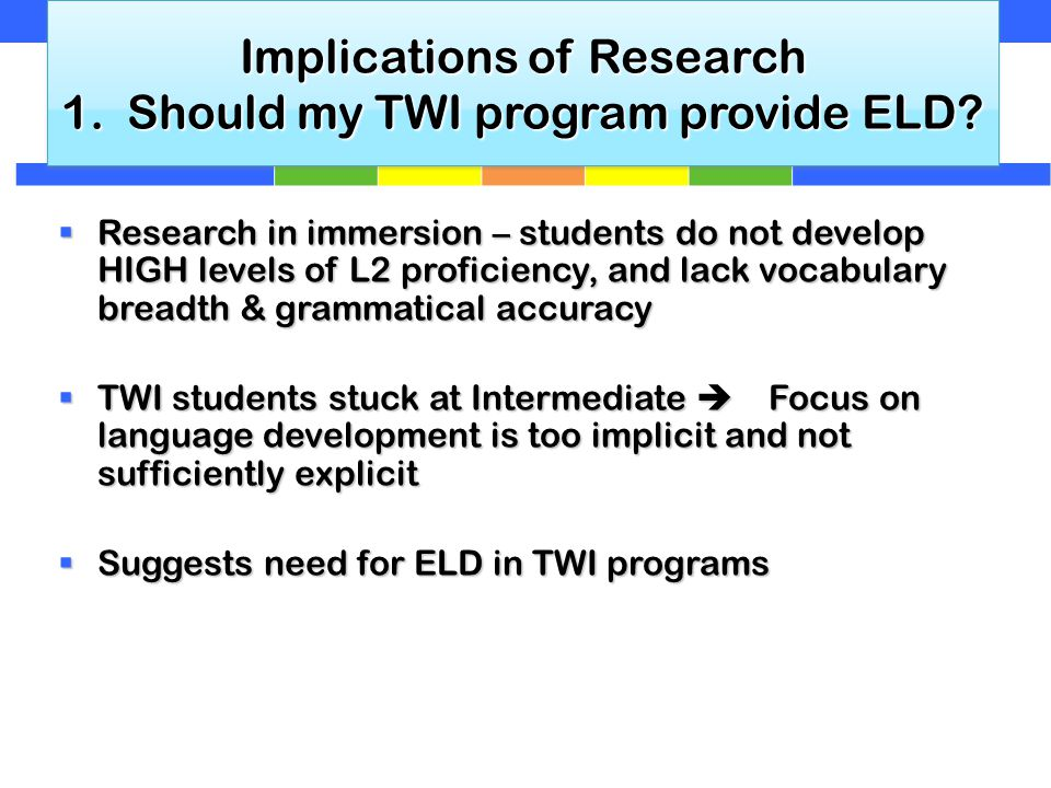 Implications of Research 1. Should my TWI program provide ELD.