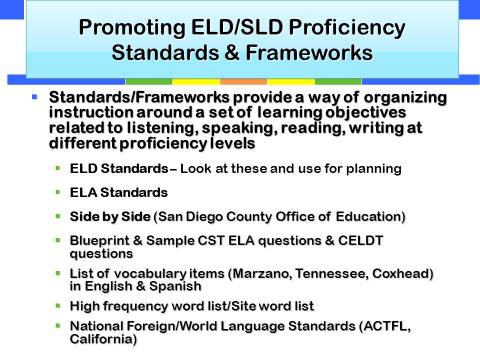 Promoting ELD/SLD Proficiency Standards & Frameworks  Standards/Frameworks provide a way of organizing instruction around a set of learning objectives related to listening, speaking, reading, writing at different proficiency levels  ELD Standards – Look at these and use for planning  ELA Standards  Side by Side (San Diego County Office of Education)  Blueprint & Sample CST ELA questions & CELDT questions  List of vocabulary items (Marzano, Tennessee, Coxhead) in English & Spanish  High frequency word list/Site word list  National Foreign/World Language Standards (ACTFL, California)