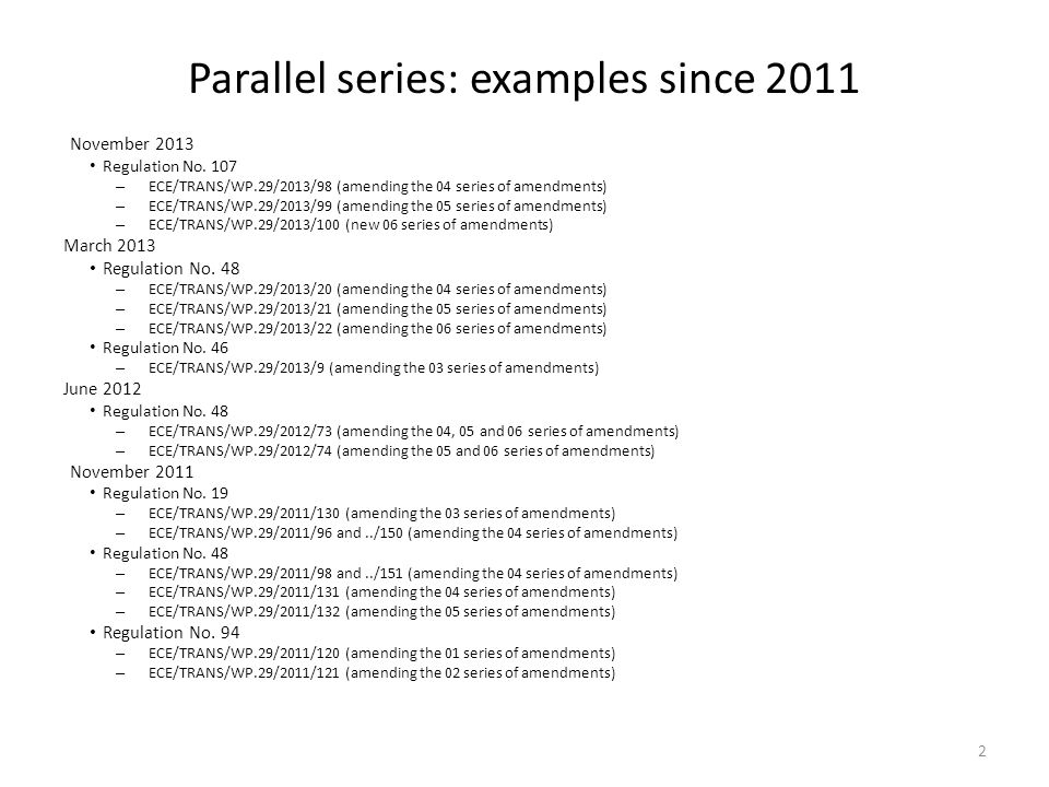 Parallel series: examples since 2011 November 2013 Regulation No.