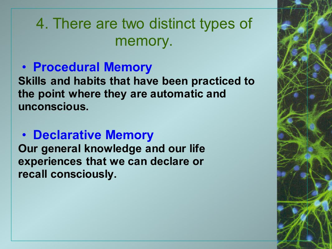 4. There are two distinct types of memory. Procedural Memory Skills and habits that have been practiced to the point where they are automatic and unco