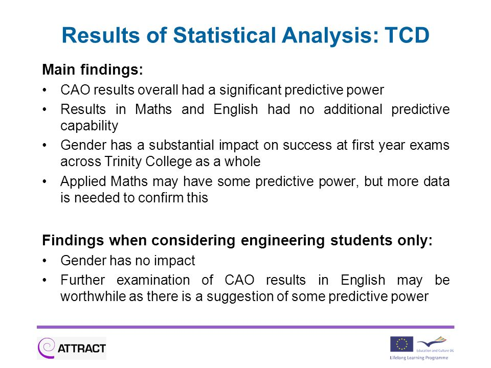 Results of Statistical Analysis: TCD Main findings: CAO results overall had a significant predictive power Results in Maths and English had no additional predictive capability Gender has a substantial impact on success at first year exams across Trinity College as a whole Applied Maths may have some predictive power, but more data is needed to confirm this Findings when considering engineering students only: Gender has no impact Further examination of CAO results in English may be worthwhile as there is a suggestion of some predictive power