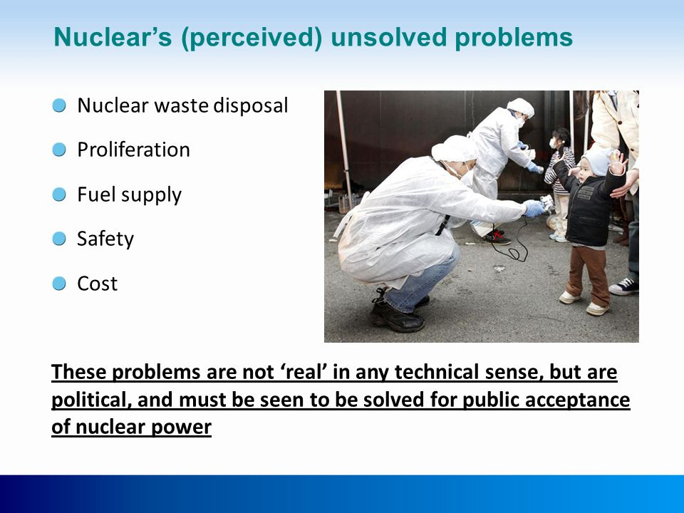 Nuclear's (perceived) unsolved problems Nuclear waste disposal Proliferation Fuel supply Safety Cost These problems are not 'real' in any technical se