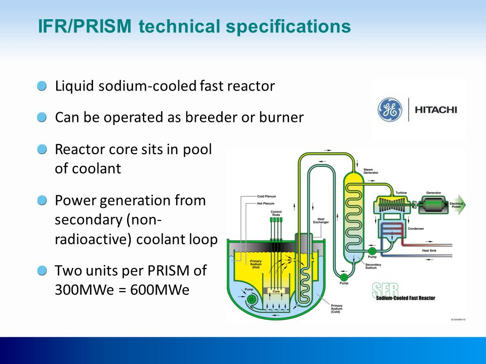 IFR/PRISM technical specifications Reactor core sits in pool of coolant Power generation from secondary (non- radioactive) coolant loop Two units per PRISM of 300MWe = 600MWe Liquid sodium-cooled fast reactor Can be operated as breeder or burner