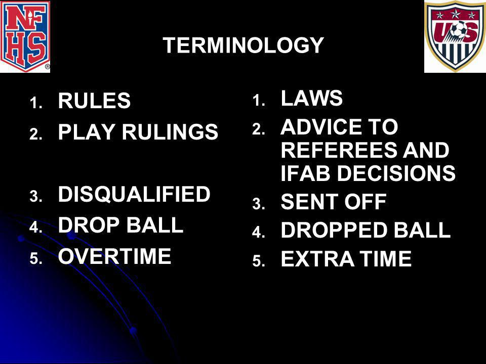 TERMINOLOGY 1. 1. RULES 2. 2. PLAY RULINGS 3. 3. DISQUALIFIED 4. 4. DROP BALL 5. 5. OVERTIME 1. 1. LAWS 2. 2. ADVICE TO REFEREES AND IFAB DECISIONS 3.