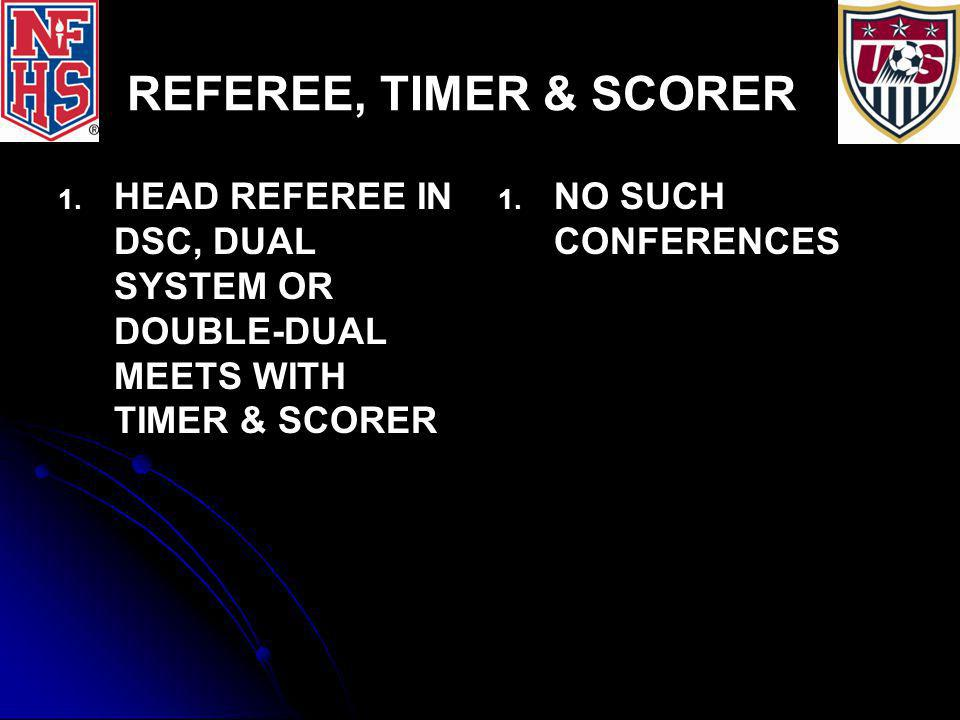 REFEREE, TIMER & SCORER 1. 1. HEAD REFEREE IN DSC, DUAL SYSTEM OR DOUBLE-DUAL MEETS WITH TIMER & SCORER 1. 1. NO SUCH CONFERENCES