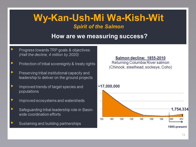 13 Wy-Kan-Ush-Mi Wa-Kish-Wit Spirit of the Salmon How are we measuring success.