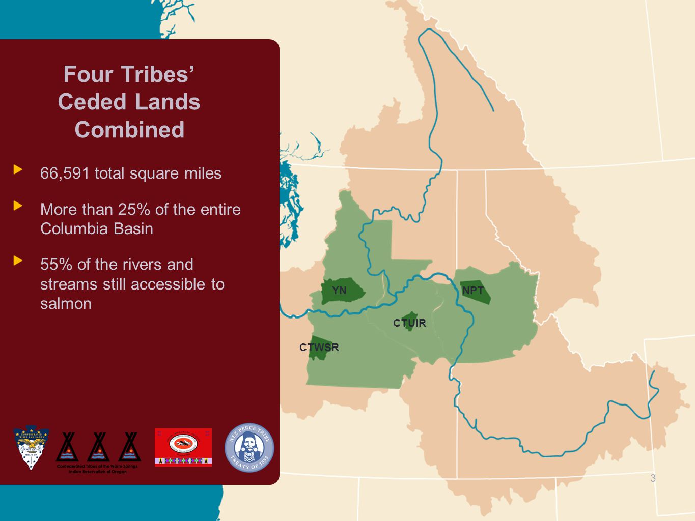 3 3 Four Tribes' Ceded Lands Combined 66,591 total square miles More than 25% of the entire Columbia Basin 55% of the rivers and streams still accessible to salmon YNNPT CTUIR CTWSR