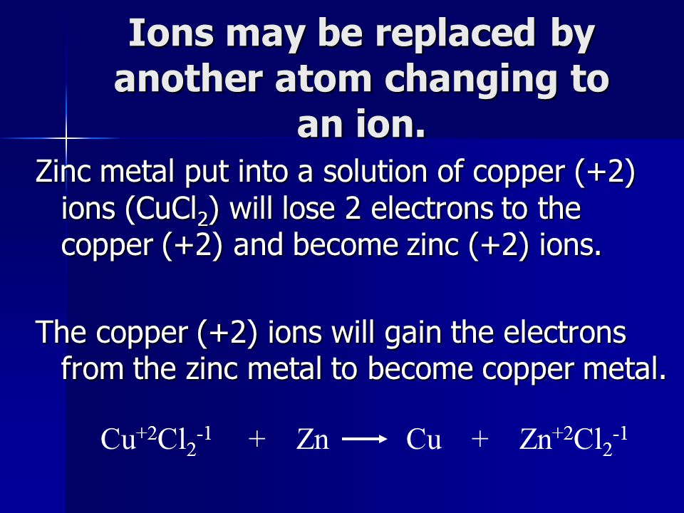 Ions may be replaced by another atom changing to an ion.