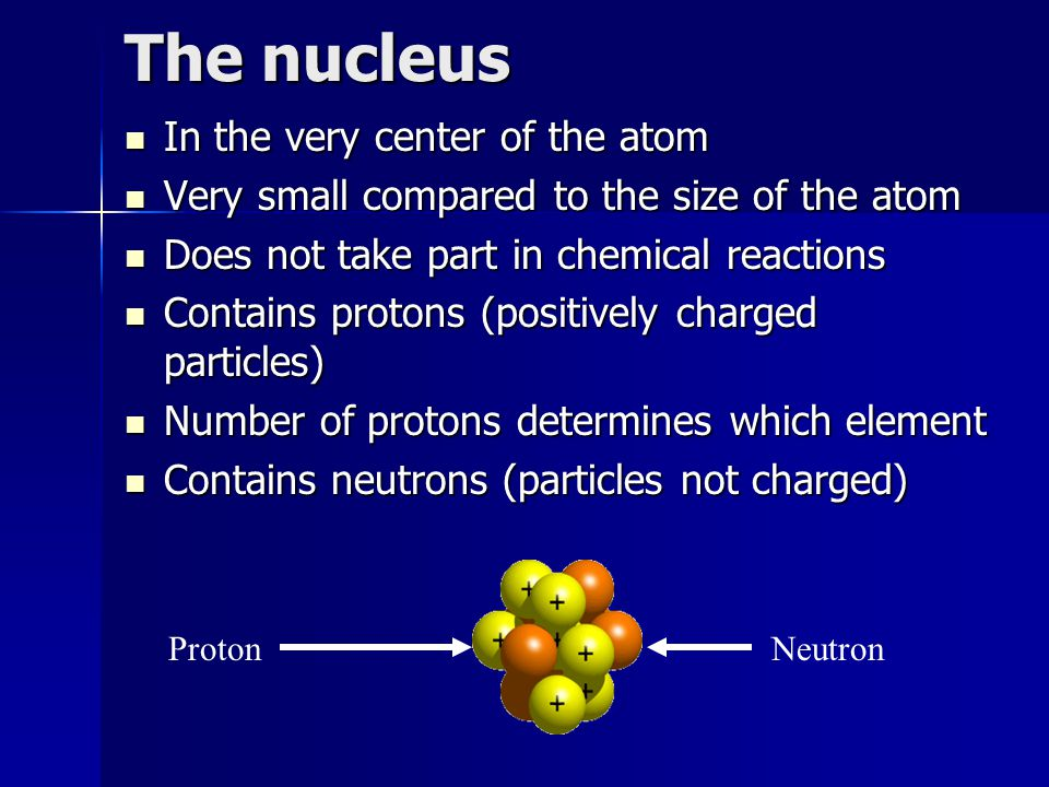 The nucleus In the very center of the atom In the very center of the atom Very small compared to the size of the atom Very small compared to the size of the atom Does not take part in chemical reactions Does not take part in chemical reactions Contains protons (positively charged particles) Contains protons (positively charged particles) Number of protons determines which element Number of protons determines which element Contains neutrons (particles not charged) Contains neutrons (particles not charged) ProtonNeutron