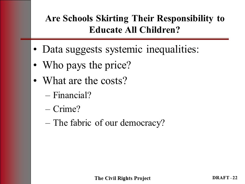Are Schools Skirting Their Responsibility to Educate All Children? Data suggests systemic inequalities: Who pays the price? What are the costs? –Finan